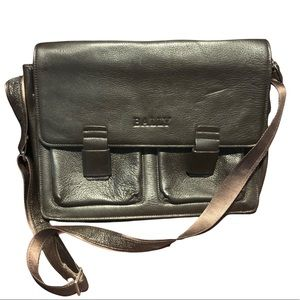 Authentic Bally leather laptop bag.